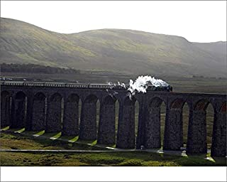 Media Storehouse 10x8 Print of The Tornado Steam Locomotive Crosses Ribblehead Viaduct in Northern England (19598768)