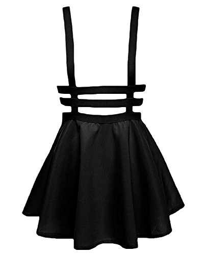 Bluetime Womens Pleated Short Braces Skirt (XXL, Black)