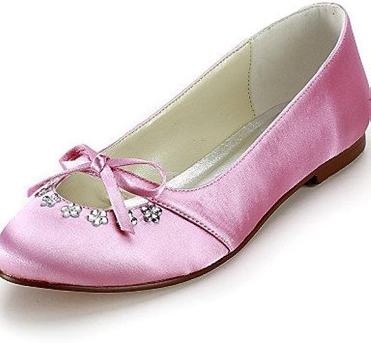 BGYHU Ggx Chaussures Femme Soie Talon Plat Bout Rond apparteHommests de mariage fête & Soir Robenoir bleu jaune rose violet