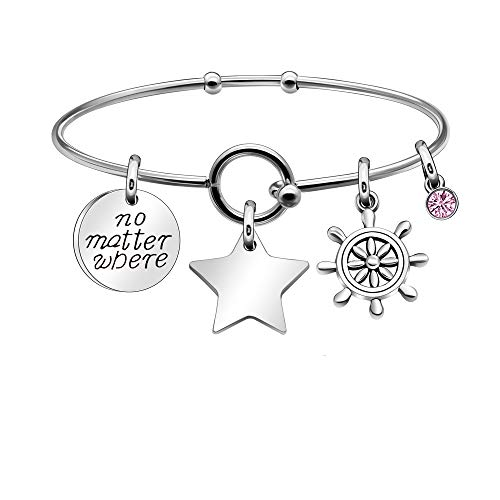 Kraven Inspirational Jewellery Gift Bracelets Bangles Adjustable Bangle Family Christmas Gifts For Women Teenage Girls with Star Compass Pink Crystal Pendant