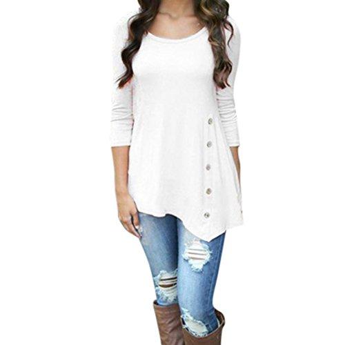 Preisvergleich Produktbild Hevoiok Damen Einfarbig Lose Knopf Oberteile,  Plus Größe Freizeit Frühling Rundhals T Shirt Trim Hemdbluse Frauen Langarm Tunika Hemd Bluse Tops (White,  6XL)