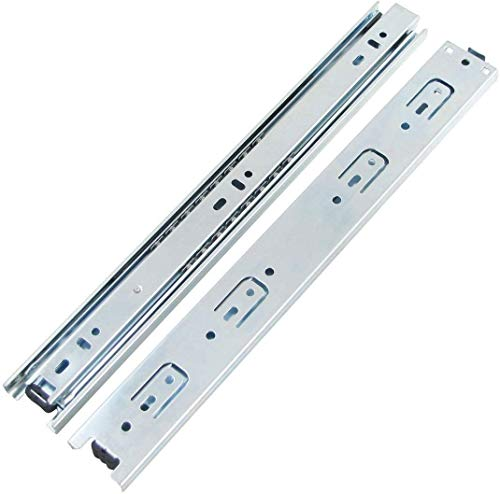 TOOPONE Drawer Slides, 11 Inch Full Extension 3 Section Ball Bearing Side Mounted Drawer Slider for Cabinet Kitchen Furniture ,2 Pack (11 inch, Silver)