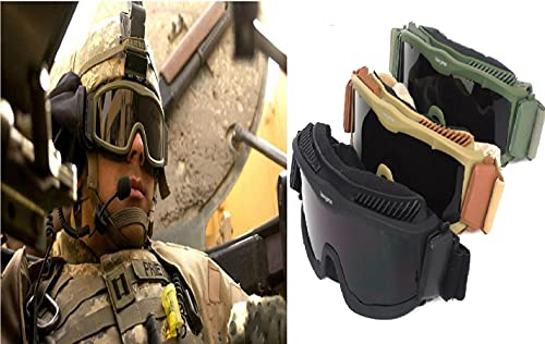 Desert Storm Riding Combat Military Ballistic EYE-SHIELD Shooting Impact Proof Goggles With 3 Replacement Lenses (3 Packs Black/Green/Khaki)