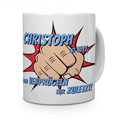 printplanet Tasse mit Namen Christoph - Motiv Verprügeln - Namenstasse, Kaffeebecher, Mug, Becher, Kaffeetasse - Farbe Weiß