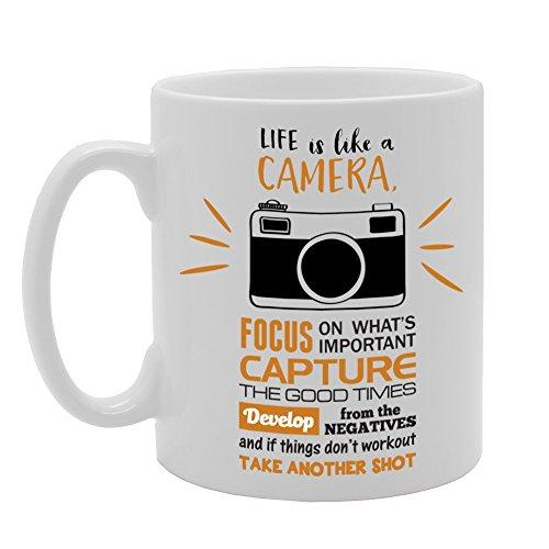 MG2198 Life is Like A Camera, Focus, Capture, Develop Novedad Regalo Impreso Té Café Taza de Cerámica