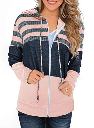SWEET POISON Women Fall Colorblock Striped Graphic Hoodie Lightweight Soft Patchwork Cardigan Hooded underarmour Wide Neck Sweatshirts Full Zip Jacket Tops Pink XL