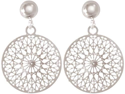 Gemshine Damen Ohrringe Yoga Mandala Kreis rund 1,5 cm in Silber, hochwertig vergoldet oder rose Ohrhänger - Nachhaltiger, qualitätsvoller Schmuck Made in Spain, Metall Farbe:Silber
