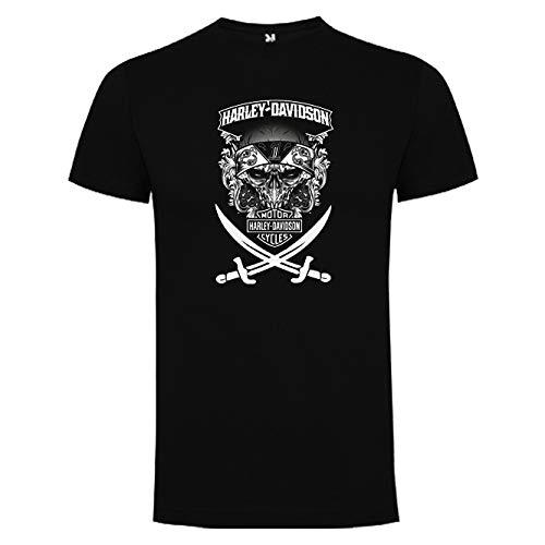 Camisetas Hombre Humor Divertidas Graciosas Harley Calavera con Espadas Motos