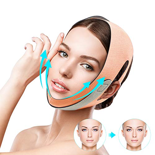 QUECC Face Slimming Strap, Pain-Free Face Shaper Band, V-Line Face Lifting Bandage, Double Chin Reducer Facial Weight Loss Belt, Eliminates Sagging Skin Lifting Firming Anti Aging Face Corrector (Pink)