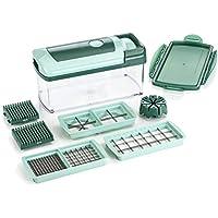 Genius Nicer Dicer Fusion | 10 piezas | Verde esmeralda | Cortador universal | Cortes en cubitos | Aparato de corte