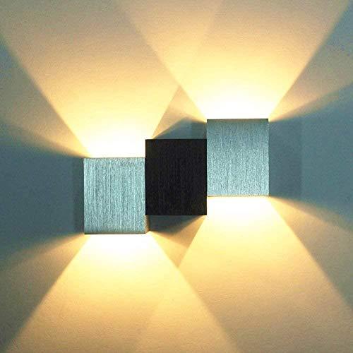 Aplique de pared LED de 6W superpuesto, lámpara de pared de arriba hacia abajo, luz nocturna súper brillante para sala de estar, dormitorio, estudio de teatro, aplique de pared de Pasillo,Warm White