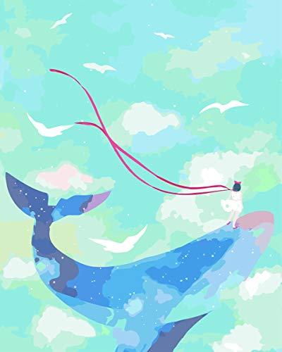 WZ schilderen op nummer-kits met penseel en acryl pigment doe-het-zelf zeildoek-verf voor volwassenen, beginners en anime-patroon, blauw, met meisjes, 16 x 20 inch