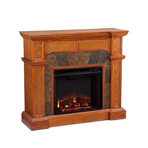SEI Furniture Cartwright Convertible Earth Tone Tile Electric Corner Fireplace, Mission Oak