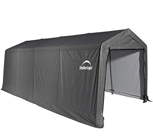 ShelterLogic 10' x 20' x 8' All-Steel Metal Frame Peak Style Roof Instant Garage and AutoShelter with Waterproof and UV-Treated Ripstop Cover -  62680