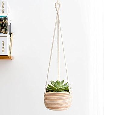 Mkono Macrame Ceramic Hanging Planter Small Succulent Plant Pot