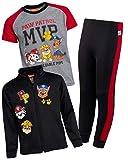 Nickelodeon Boys Paw Patrol 3-Piece Jogger Set - Fleece Zip Jacket, Jogger and T-Shirt, Black, Size 5