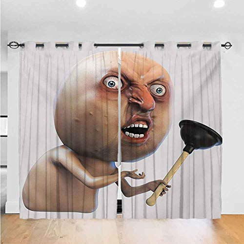 Humor GrommetCurtainforBathroom Why You No with Plunger Guy Meme with Long Face Angry Grumpy Washroom Design Print The Best Choice for Bedroom and Living Room W96xL108 Tan and Peach