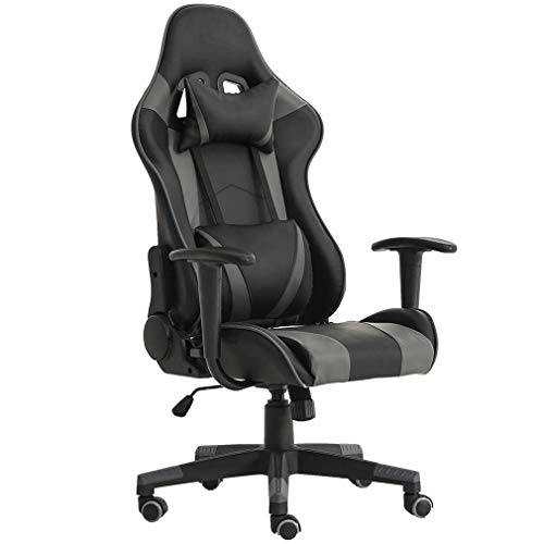 Gaming Chair Ergonomic Office Chair PC Desk Chair with Lumbar Support Headrest Armrest Swivel Chair Rolling High Back PU Leather Racing Computer Chair for Adults Women Gamer(Grey) Arms BestOffice chair Desk Ergonomic Flip gaming Headrest Leather Lumbar Office pc PU Support Up with