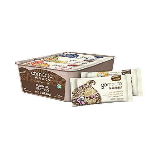 GoMacro MacroBar Organic Vegan Protein Bars - Variety Pack (2.0-2.4 Ounce Bars, 12 Count)