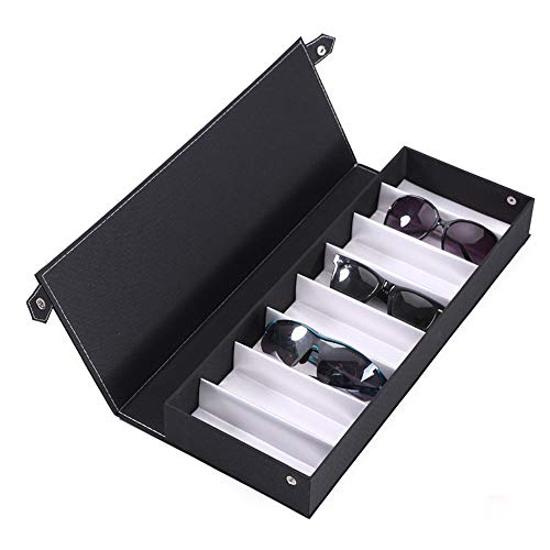 PN-Braes Aufbewahrungsbox für Gläser Sonnenbrillen Aufbewahrungsboxen, Schwarz Wildleder Stoff Sunglass Display Box, Brillen Eyewear Organizer Display Storage Case - 8 Slots Sonnenbrillenvitrine