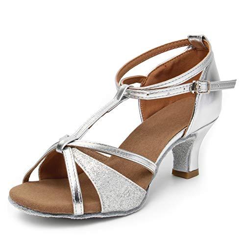 HIPPOSEUS Zapatos de Baile Latino con Correa en T para Mujer Zapatos de práctica de Baile de salón de Cuero de Lentejuelas,Plateado,37 EU