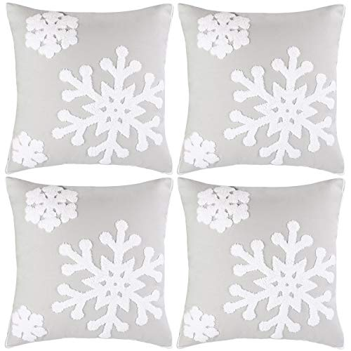 Aneco Pack of 4 18×18 Inches Snowflake Throw Pillow Covers Christmas Decorative Pillowcases Snowflake Cushion Covers for for Bed Sofa Cushion Car Decotation,Grey