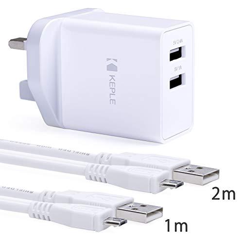 Netzteil USB Wandladegerät mit 2 Ladekabeln kompatibel mit HTC One A9, M9, M8, 7, 9, 9+ Plus, Desire 310, 320, 380, 530, 610, 620, 650, 728, 820 - Micro USB Kabel Lead Cord Dual UK Stecker (1m & 2m)