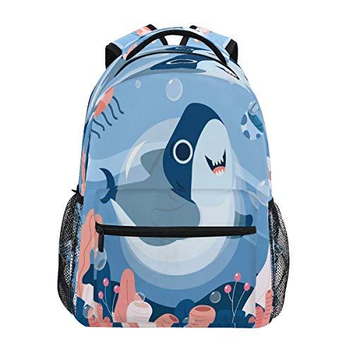 N / A Niños Mochila portátil Grill - Buena Escuela de Baile de Las Medusas Bolsas de Libros de la Mochila del Ordenador para IR de excursión Acampar tiburón