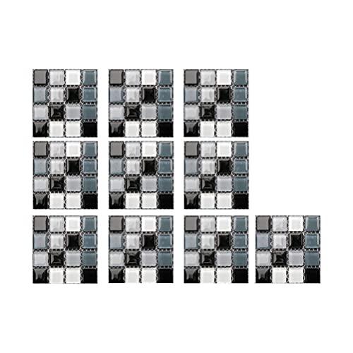Hspemo 30 adhesivos para azulejos de PVC, lámina autoadhesiva resistente al calor, resistente al agua, para cocina, decoración de azulejos, estilo de mosaico (10 x 10 cm / 4 x 4 pulgadas)