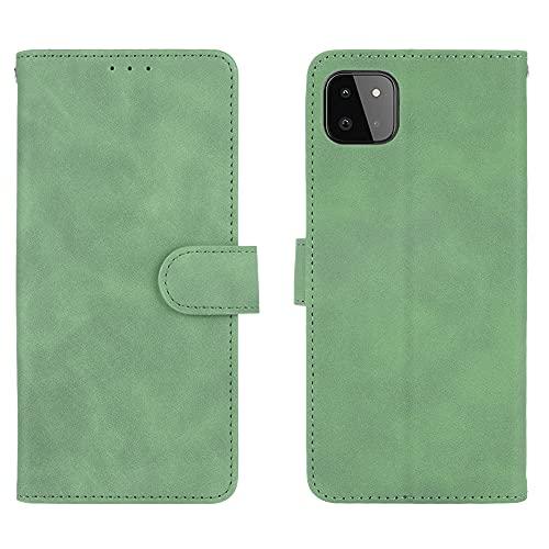 GOGME Leather Folio Funda para Samsung Galaxy A22 5G Funda, Flip Wallet Carcasa Tipo Libro Protector Magnético y Plegable de PU + TPU Soporte de Ranuras para Tarjetas, Verde