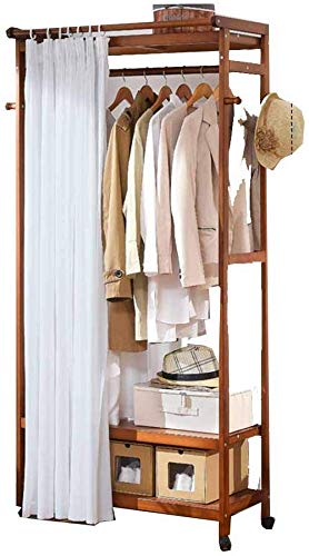 Dubbellaags met gordijn met riemschijf verstelbare kast garderobe kledinghanger hout slaapkamer woonkamer bruin bruin