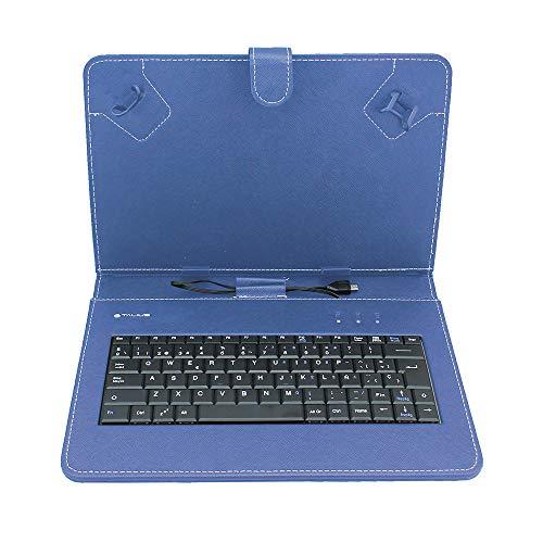 Talius CV-3004 - Funda Tablet 10', Teclado, Color Azul