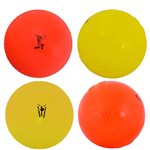 Kosma 4er Pack Windball Übungs Cricket Ball | Weiche Trainingsbälle - Farbe: 2 Orange, 2 Gelb