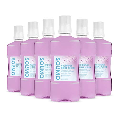 Amazon Brand - Solimo - Mouthwash Triple action, 6x500ml