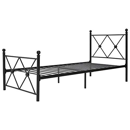 Ailao Högkvalitativ metallsängram med sängram sänggavel sängram för barn ungdomar och vuxna sängram för vardagsrum