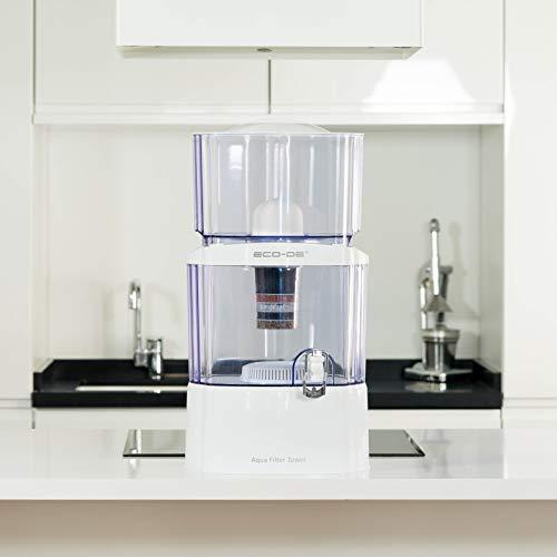 """""""Aqua filter tower"""" ECO-DE purificateur d'eau, 8 systèmes de filtrage, filtre en céramique, carbone, de pierres naturelles"""