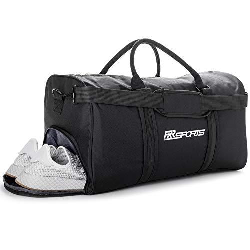 RR Sports - Sporttasche mit Schuhfach schwarz für Damen, Herren und Kinder, Sport Trainingstasche für Fitness, Fitnessstudio, Gym und Fußball, Schwarze Fitnesstasche, Frauen und Männer Sporttaschen