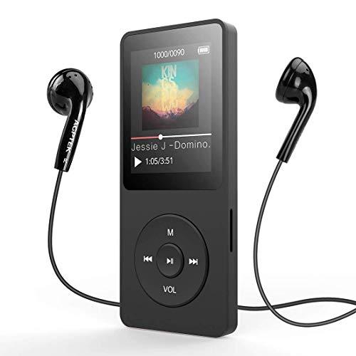AGPTek - Lettore MP3 da 8 GB con Schermo 1,8 Pollici con Radio FM e Registratore e70 ore di riproduzione prolungata, Nero