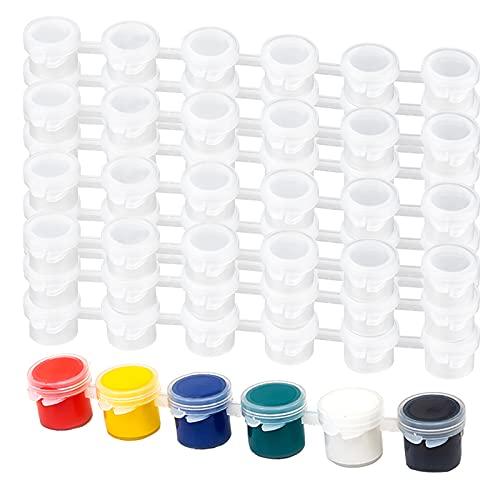 25 Streifen, leere Farbstreifen, 3 ml, Mini-Töpfe, Streifen für Kunstklasse, Kunst, Festival, Sommercamp (insgesamt 150 Töpfe)
