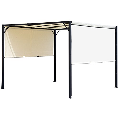 Outsunny Garden Outdoor Metal Gazebo Party Tent Sun Shelter Removable Cover Canopy Cream White - 3 X 3 (M)