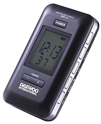 Daewoo DRP-18B - Radio digital de bolsillo con memoria para 60 presintonías (40 FM/20 AM), Negro