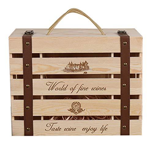 Bageek - Caja de vino de madera con diseño hueco para 6 botellas de vino, caja de regalo