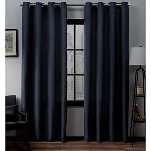 Exclusive Home Curtains Loha Linen Grommet Top Curtain Panel Pair, 52x84, Peacoat Blue