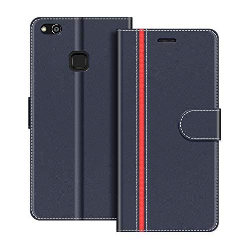 COODIO Handyhülle für Huawei P10 Lite Handy Hülle, Huawei P10 Lite Hülle Leder Handytasche für Huawei P10 Lite Klapphülle Tasche, Dunkel Blau/Rot