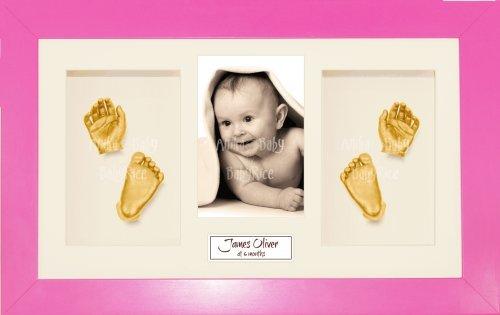 Anika-Baby Kit de moulage pour bébé Cadre 4 ouvertures Rose Passe-partout crème/fond crème/peinture doré 36,8 x 21,6 cm