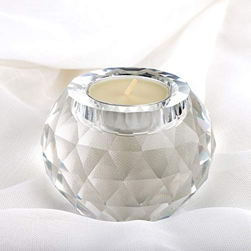 OwnMy Crystal Glass Ball Tea Light Candle Holder, 3' x 2' Clear Glass Sphere Candle Holder Candle Stand Votive Candle Tealight Holder Crystal Candle Centerpiece for Dining Table Home Decor Wedding