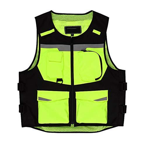 Equipo de protección Chaleco de Motocicleta Reflectante Fluorescente Amarillo de Alta Visibilidad Chaleco Chaleco Fluorescent Yellow L