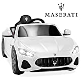 Best Choice Products Kids 12V Licensed Maserati GranCabrio Ride On Sports Car w/Remote Control, AUX, LED Lights - White