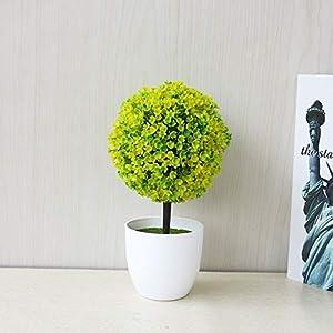 Silk Flower Arrangements : Desktop Simulation Plant Mini Grass Ball Bonsai Decorated Plastic Flower Cherry Blossom Snowball Artificial Flowers(Green). (Color : Yellow)