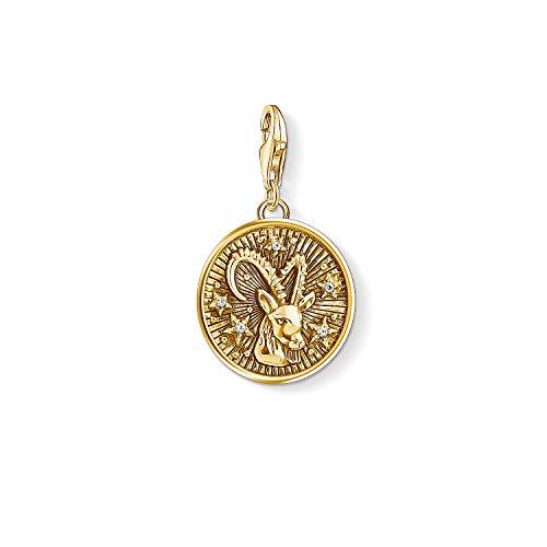 Thomas Sabo Damen Herren-Charm-Anhänger Sternzeichen Steinbock Charm Club 925 Sterling Silber vergoldet 1661-414-39